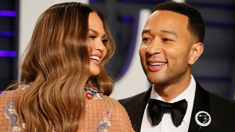 John Legend and Chrissy Teigen at the Oscars Vanity Fair party in 2019