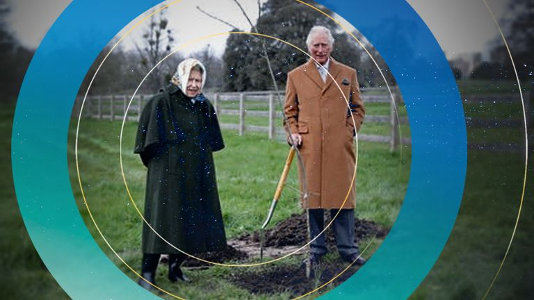 Queen Elizabeth II and the Prince of Wales planting the first Jubilee tree to mark the Queen's platinum jubilee in the grounds of Windsor Castle, Berkshire, earlier this year.