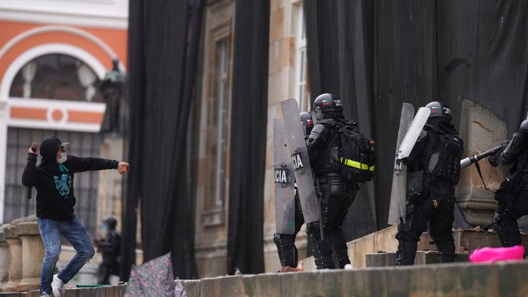 Demonstrators and riot police clashed on 5 May in the capital