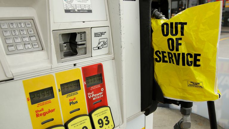 A petrol station in Atlanta, Georgia ran out of gas, following the cyber attack on the pipeline. Pic AP
