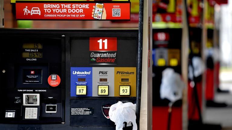 A QuickTrip store in Kennesaw, Georgia has covered pumps with bags after it ran out of petrol on Tuesday. Pic AP