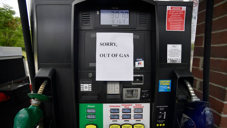Petrol stations up and down the East Coast are suffering from fuel shortages after the cyberattack on the Colonial Pipeline. Pic AP
