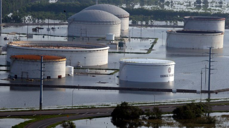 Colonial Pipeline Company holding tanks in Port Arthur sit in floodwaters caused storm Harvey. Pic: AP