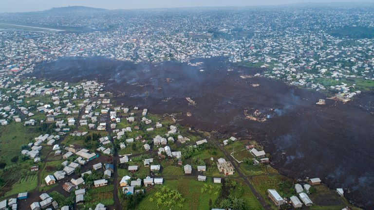 Homes in Buhene, north of  Goma, Congo, were destroyed by lava. Pic: AP