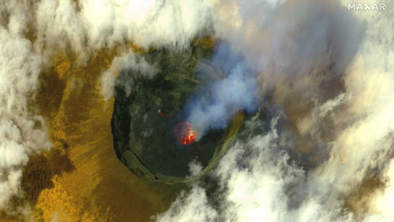 Volcanic activity is seen in the crater at Mount Nyiragongo before eruption near Goma, in the Democratic Republic of Congo, on 20 May