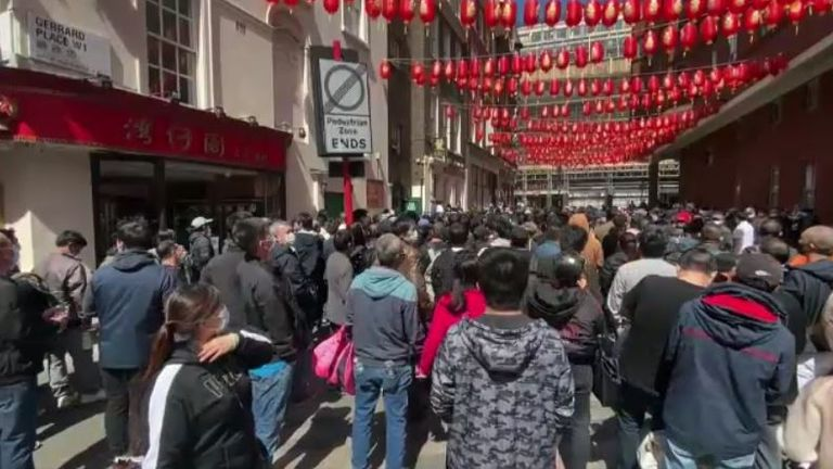 Hundreds of people packed into London's Chinatown