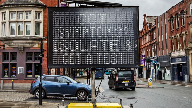A display board advertises testing services in Bolton, one of the areas said to be worst affected by the Indian variant