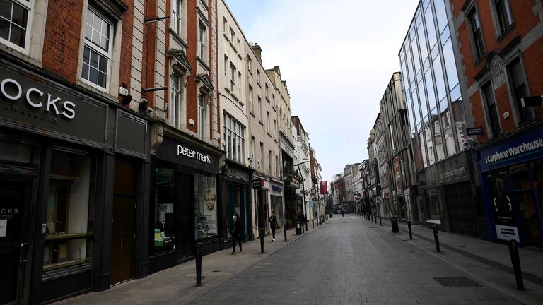 An empty city centre shopping street during the coronavirus lockdown in Dublin