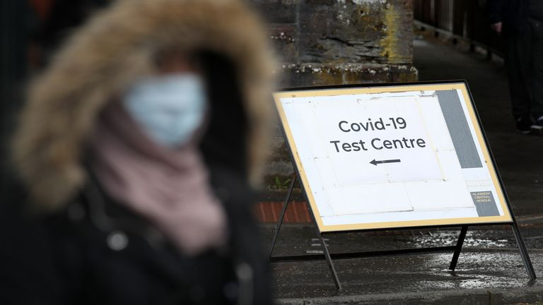 A sign at the entrance to a COVID testing centre