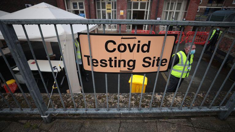 A COVID testing centre in Shoreditch, London