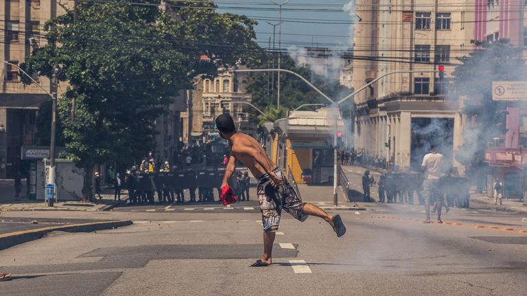In Recife, the police threw tear gas at protestors