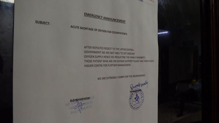 A letter posted outside Sun Hospital in Lucknow in Uttar Pradesh, asking oxygen ran out.