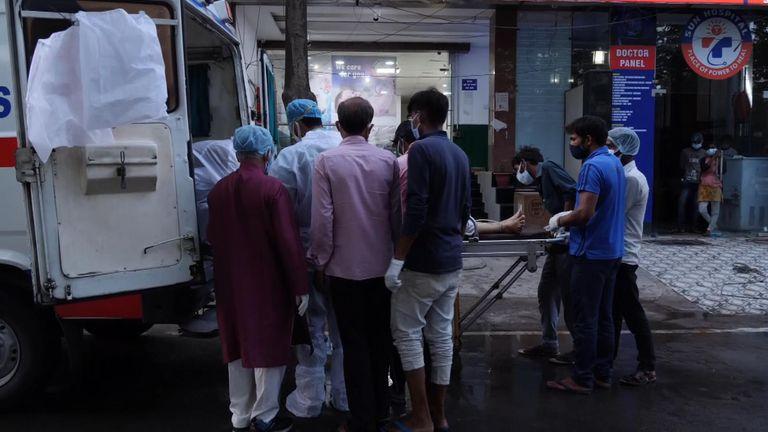 Outside the Sun Hospital in Lucknow in Uttar Pradesh