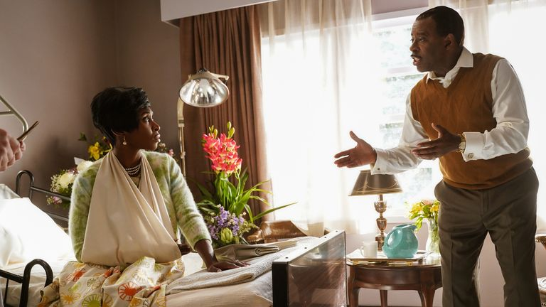 CL Franklin (Courtney B Vance) expresses concern for Aretha Franklin (Cynthia Erivo) while in the hospital for a broken arm in Genius: Aretha. Pic: National Geographic/Richard DuCree)