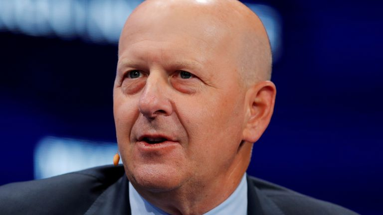 David M. Solomon, Chairman and CEO of Goldman Sachs, speaks during the Milken Institute's 22nd annual Global Conference in Beverly Hills, California, U.S., April 29, 2019