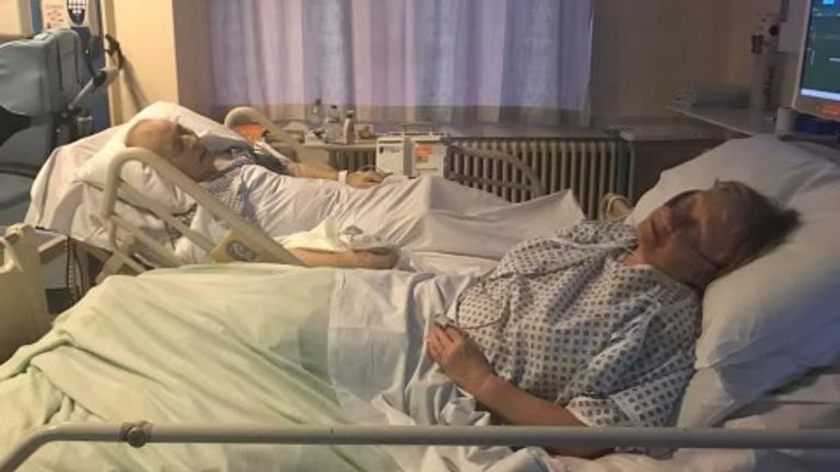 Dennis and Mavis Eccleston in hospital after they both took an overdose. Family photo