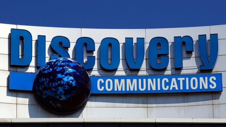 In this July 31, 2017, file photo, the Discovery Communications logo sits atop its headquarters in Silver Spring, Md. Pic: AP