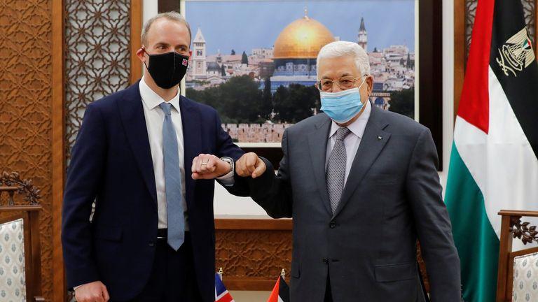 Foreign Secretary Dominic Raab (left) and Palestinian President Mahmoud Abbas