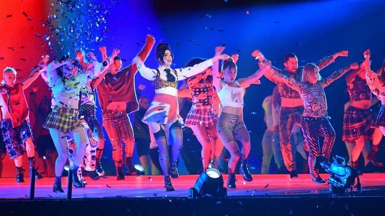 Dua Lipa performs during the Brit Awards 2021