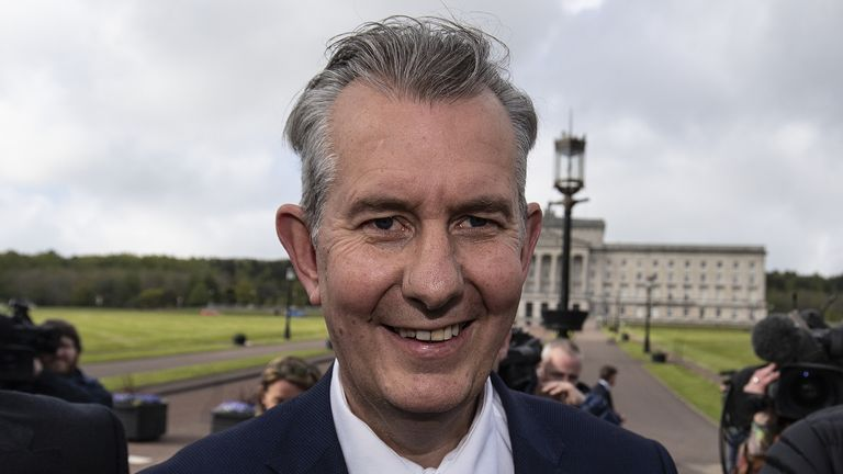 Democratic Unionist Party new elected leader Edwin Poots leaving Stormont, Belfast after making a statement