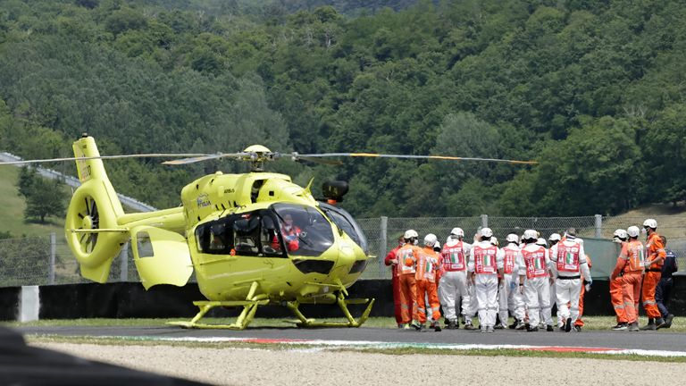 The Swiss was airlifted to hospital on Saturday