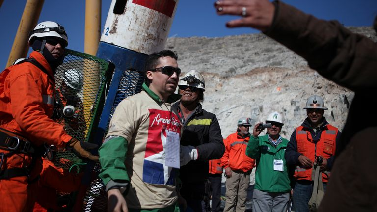 Edison Pena emerged from the mine after being trapped underground for 69 days