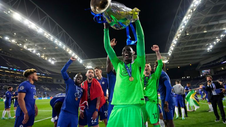 Keeper Edouard Mendy lifts the trophy