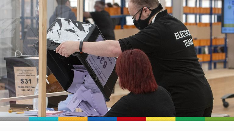 Ballot boxes are opened at the Inverness Leisure hall in Inverness for for the Scottish Parliamentary Elections. Picture date: Friday May 7, 2021.