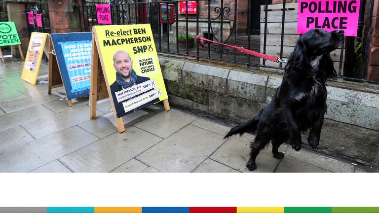 A dog is seen outside a polling station during local elections in Edinburgh, Scotland, Britain May 6, 2021. REUTERS/Russell Cheyne