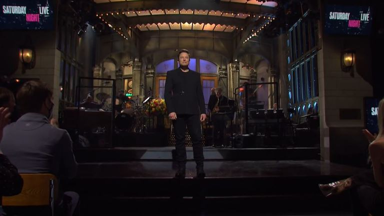 Elon Musk appears on stage at the start of Saturday Night Live. Pic: NBC/YouTube