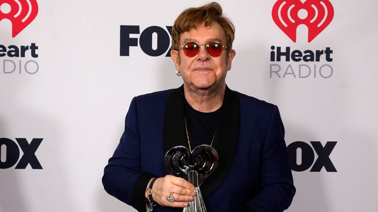 Icon award winner Elton John attends the iHeartRadio Music Awards at the Dolby Theatre on Thursday, May 27, 2021, in Los Angeles. (AP Photo/Chris Pizzello)