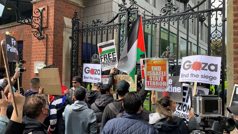 Protestors marched to the Israeli Embassy in London