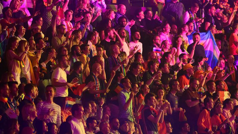Eurovision got back underway again in front of a 3,500-strong crowd. Pic: Soeren Stache/picture-alliance/dpa/AP