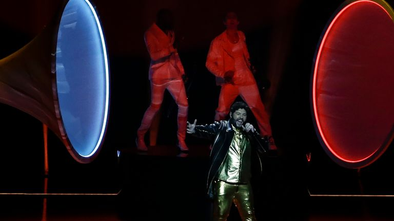 James Newman from the United Kingdom performs during rehearsals at the Eurovision Song Contest at Ahoy arena in Rotterdam, Netherlands, Wednesday, May 19, 2021. (AP Photo/Peter Dejong)