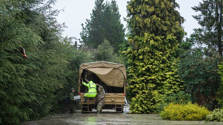 NZ Defence Force helping people during flooding in NZ's South Island. Pic: NZDF