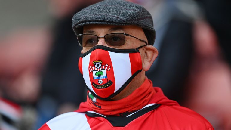 One Southampton fan donned a club mask as he watched on from the stands for the first time since 7 March