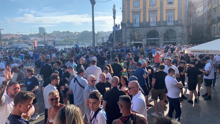 British fans have arrived in Porto for Manchester City vs Chelsea