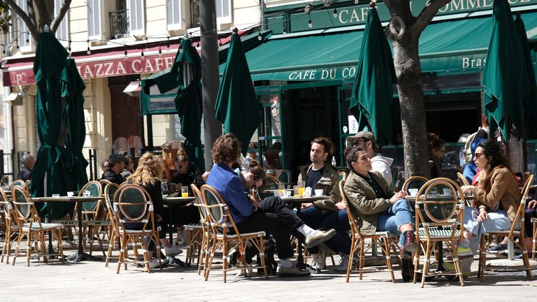 Bar And Restaurant Terraces Re-Open In Marseille . Pic: AP