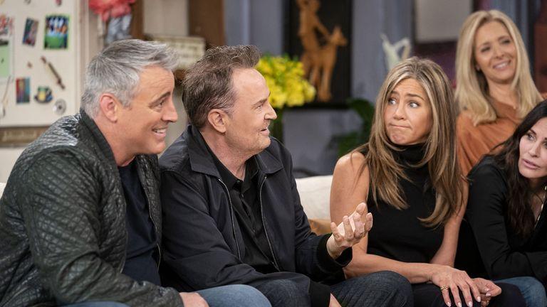 Matt LeBlanc, Matthew Perry, Jennifer Aniston, Lisa Kudrow and Courteney Cox in Friends: The Reunion. Pic: Warner Media/ HBO/ Sky UK