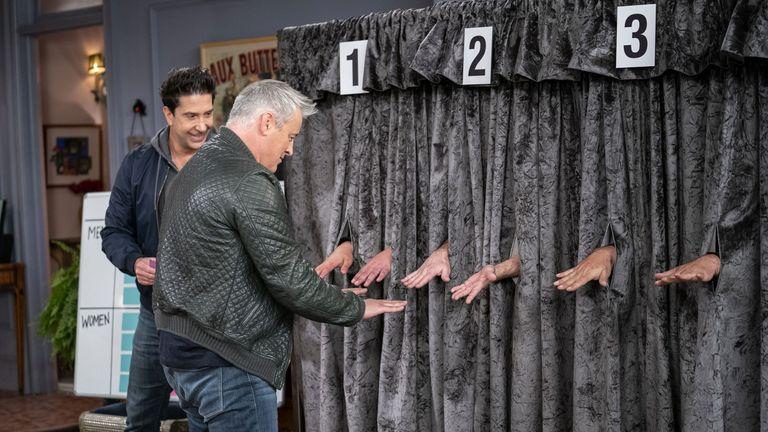 David Schwimmer and Matt LeBlanc in Friends: The Reunion. Pic: Warner Media/ HBO/ Sky UK