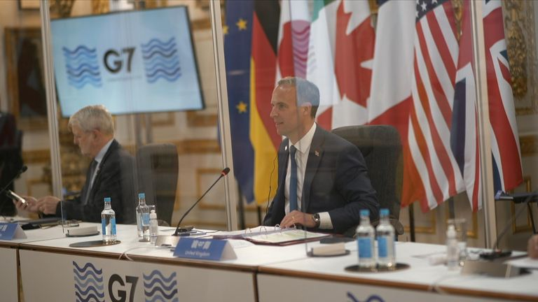 Dominic Raab at the G7 summit