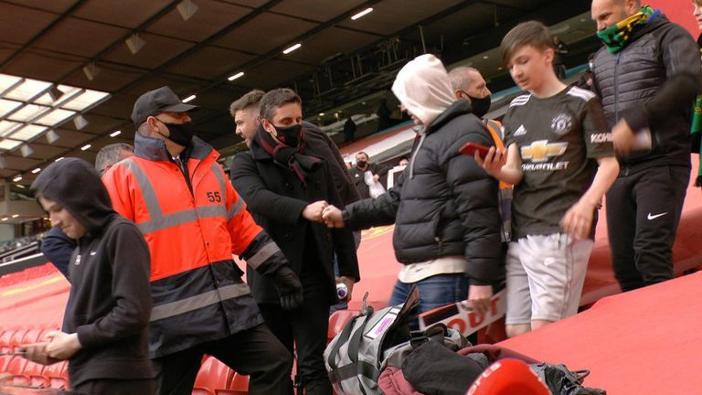 Gary Neville as Manchester United fans stormed Old Trafford to protest against the Glazer family's plans to join the European Super league