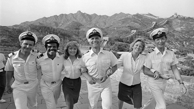 The case of The Love Boat in 1983. (From left) Fred Grandy, Ted Lange, Jill Whalen, Gavin MacLeod, Lauren Tewes and Bernie Kopell. Pic AP