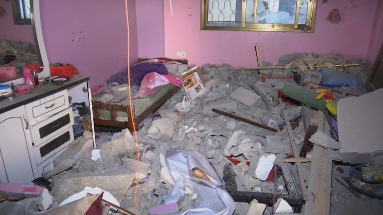 Building hit by air strike in Gaza