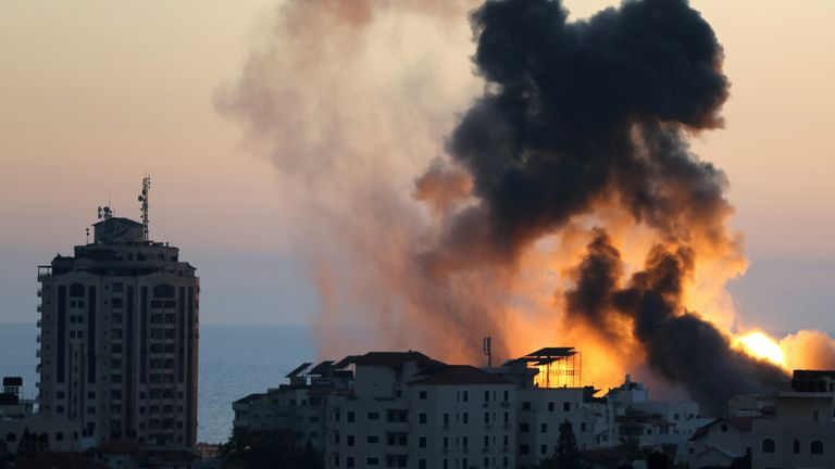 Smoke and flame rise during Israeli airstrikes in Gaza City