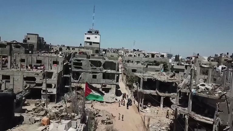 Drone footage shows the scale of destruction left across Gaza City after 11 days of fighting.