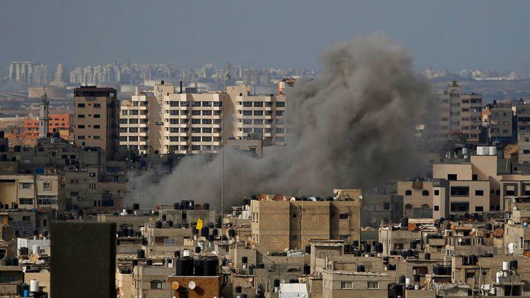 Smoke rises following an Israeli airstrike in Gaza City on 20 May. Pic: AP