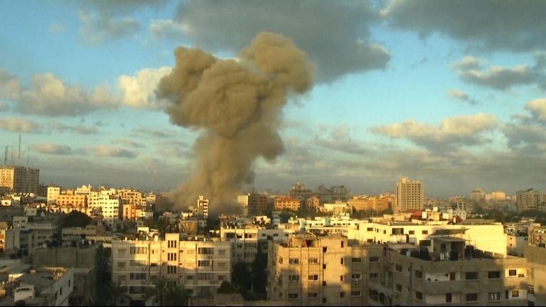 Smoke rises above Gaza from a suspected Israeli missile strike