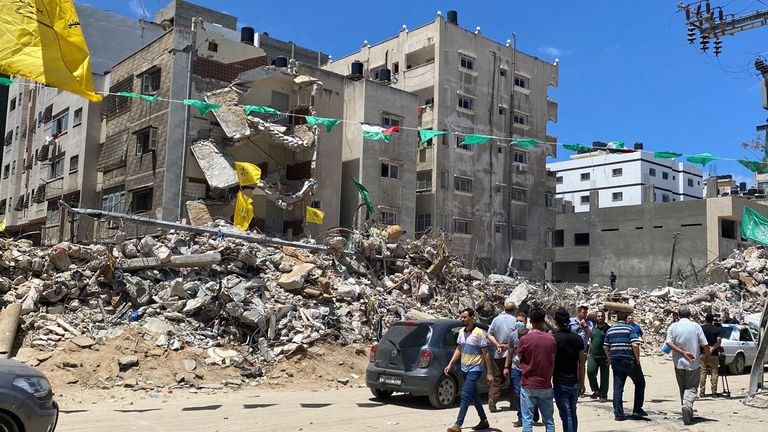 The collapsed apartment block left more than 40 people dead