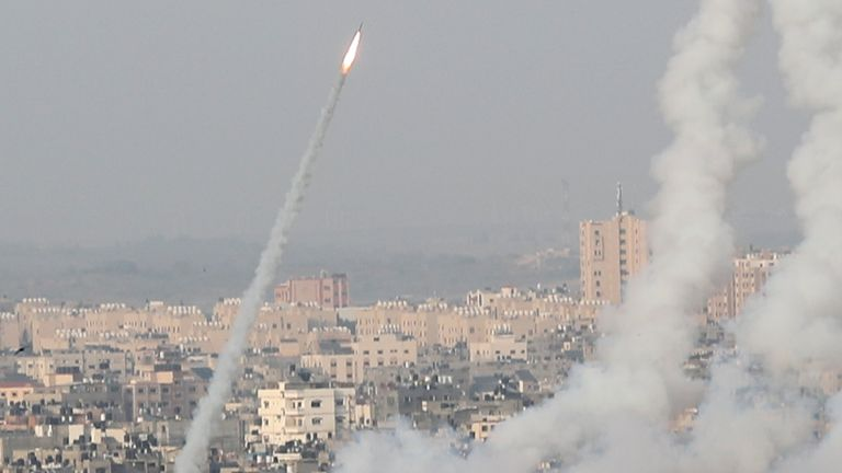 Rockets were fired from Gaza City towards Israel